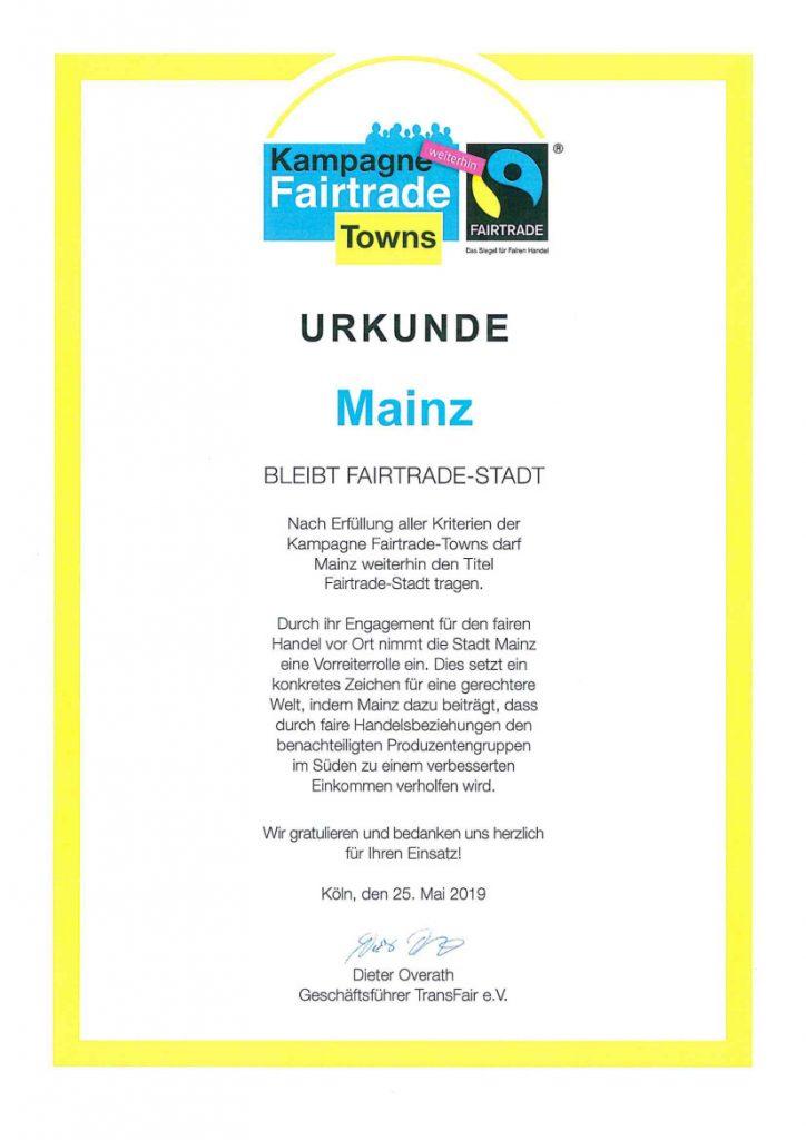 Fairtrade Urkunde der Stadt Mainz